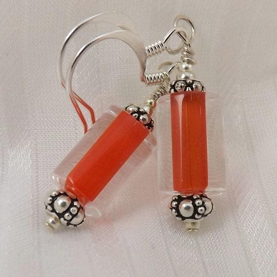 Red Glass Earrings, 1 inch (2.5cm) Drop Earrings, Furnace Glass Earrings, Tomato Red Earrings, Red Jewelry, Furnace Glass Jewelry