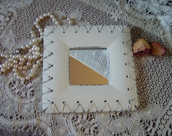 Shabby White square wall mirror with laces, primitive wall mirror