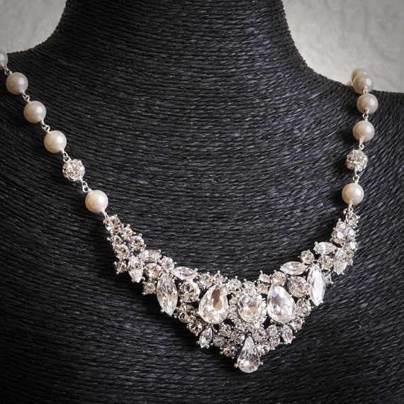 ZAFIRA, Bridal Necklace, Vintage Inspired Chuncky Rhinestone Wedding Bib Necklace, White or Ivory Pearl Statement Necklace, Bridal Jewelry