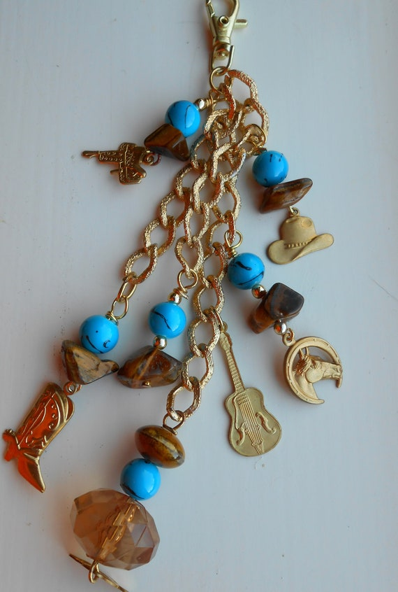 Wild Western Charms and Tuquoise Beaded Jingling Keybling Key chain or purse Charm