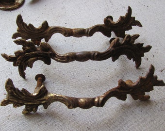 Set of 3 Heavy Antique Rusted Iron Metal Cabinet Drawer Handles