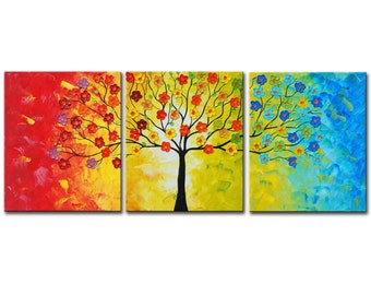Originl Painting, tree painting, blossom tree, acrylic painting, Wall decor, Wedding gift, gift for couple, modern wall art, Christmas gift