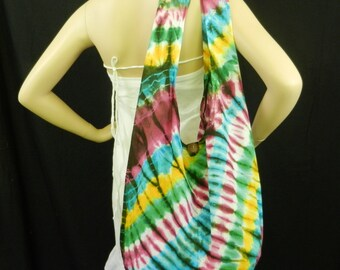 Rainbow Tie Dye Bag Purse Sling Messenger Crossbody Buddha Hobo Hippie Celebrity Top Zip OOAK VH5