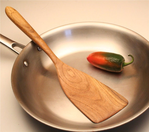 Wooden spatula right handed  for flipping your fried eggs of salvaged Texas Honey Mesquite