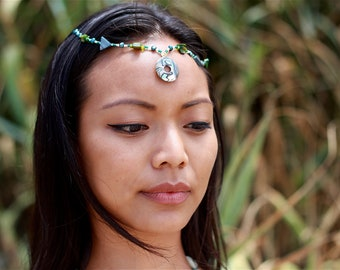 ABALONE CROWN Beaded Abalone & Mother of Pearl Head Piece