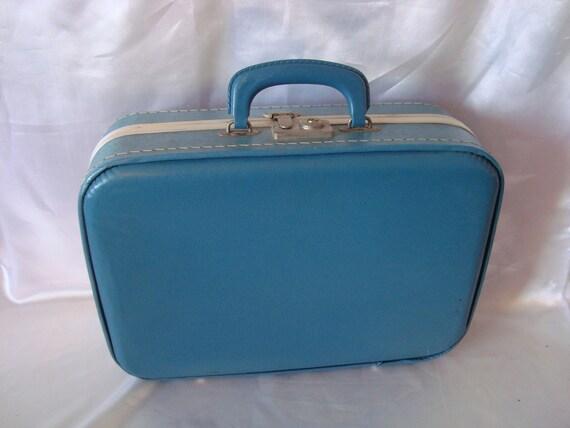 Blue Suitcase Luggage Overnight Bag Over Night Case Childrens Suitcase TREASURY ITEM