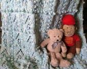Hand Knit Bobble Baby Blanket / Afghan