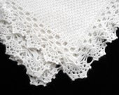Knitted Baby Blanket - White Mohair
