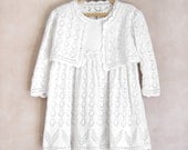 Knitted Dress with Crocheted Flowers and Bolero Jacket - White, 3 - 4 years