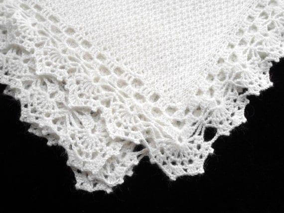 Knitted Baby Blanket - White Mohair
