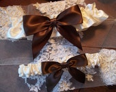 Brown Bows Wedding Garter Set, Bridal Garters with Lovely Chocolate Brown Bows on a Ivory Band