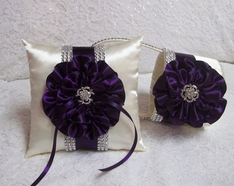 Flower Girl Basket and Ring Bearer Pillow Set in Dark Plum Purple & Ivory with Rhinestone Mesh handle and Trim, Made to Order