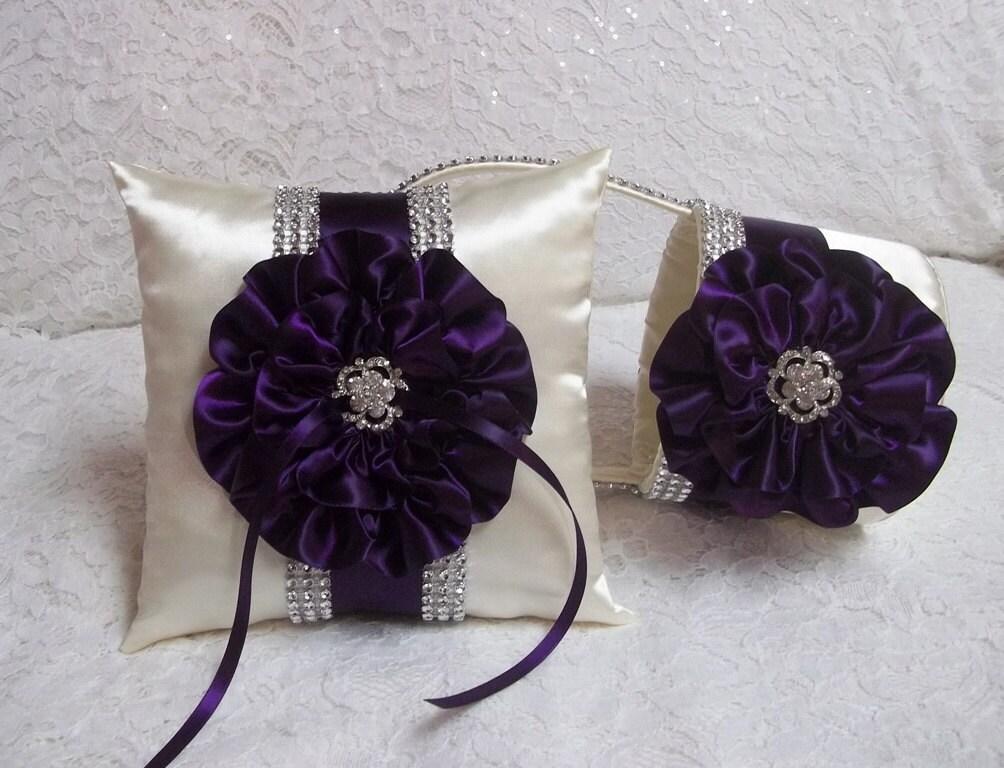Purple Bling Flower Girl Basket And Ring Bearer Pillow Set