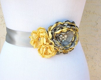 Yellow Grey Wedding Sash with Swarovski Pearls and Crystals for a Bride, Bridesmaid, Special Event or Formal Occasion