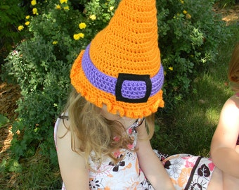 witchie-poo Halloween hat - bright orange & purple