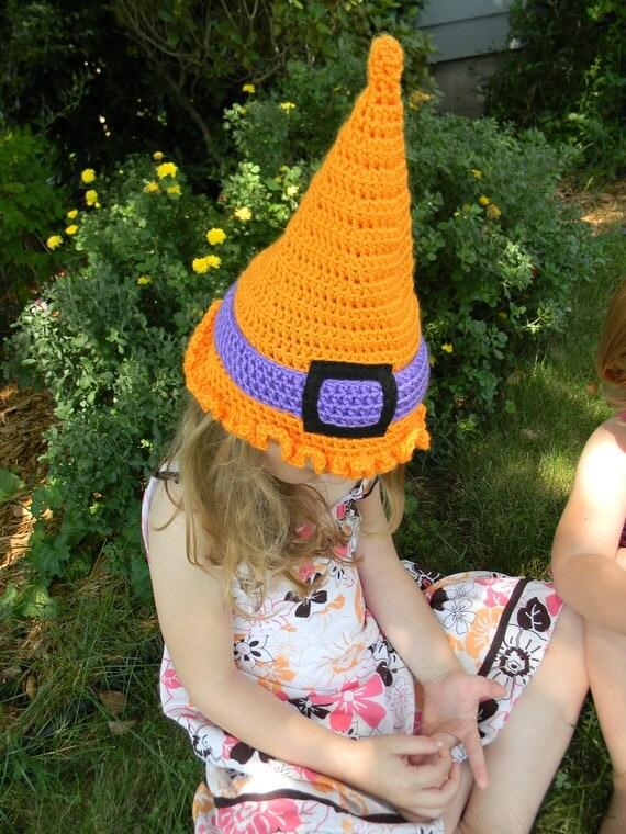 witchie-poo Halloween hat - bright orange & purple