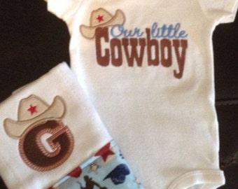 Our Little Cowboy Bodysuit and Burp Cloth Set