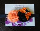 Halloween Headband Black and Orange Vintage Inspired Shabby Chic Mini Rose 2 Flower Headband elastic headband. Photography prop Baby Gift.
