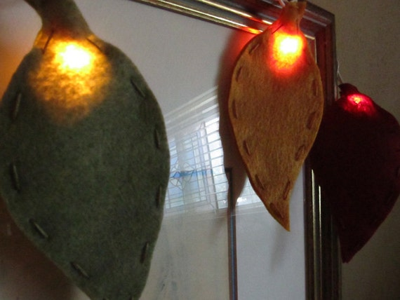 Felt Autumn Leaves string Lights by bubblewish on Etsy