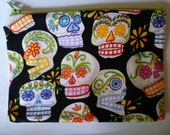 Colorful Sugar Skull Zipper Pouch