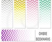 Ombré Chevrons Printable Bookmark Digital Bookmark - INSTANT DOWNLOAD Bookmark - Pack 387