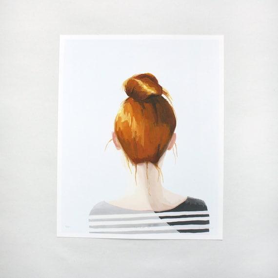 "hair art - bun print - ""Top Knot 16"" giclee print"