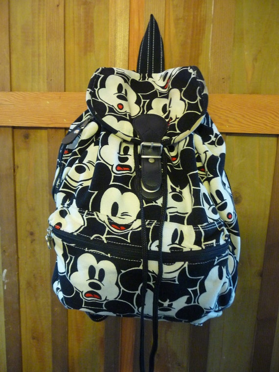 vintage mickey mouse canvas backpack