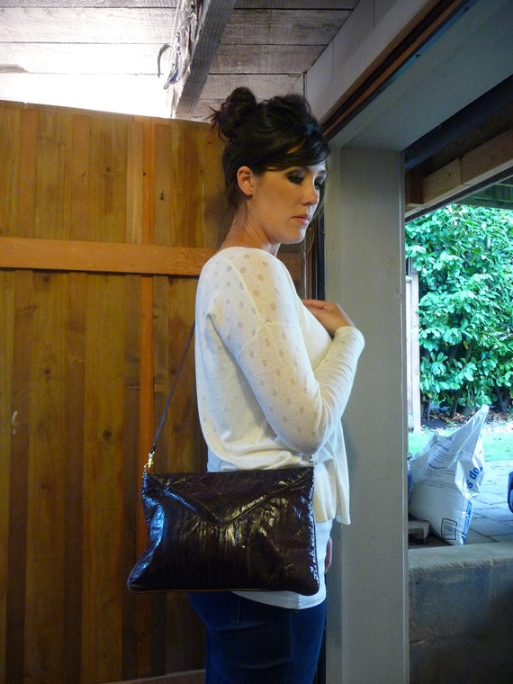 Vintage Eelskin Eel skin  and Leather Brown Crossbody Bag or Clutch Purse made in Canada