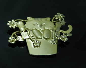 Vintage AJC Cat In A Flower Pot Whimsical Brooch Pin In Gold Tone Finish