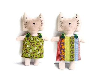 Kitten Softie Cat Doll Orange Purple Yellow Green Blue Red Pink White Dots Flowers Leaves With Reversible Dress Cat Lovers Gift