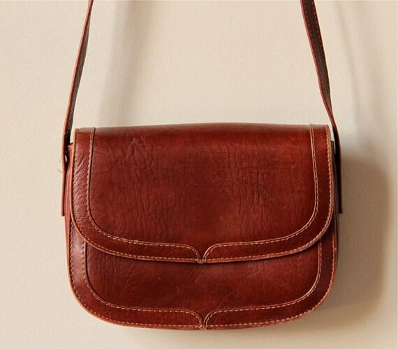Leather Saddle Bag Purse, vintage 70s 80s sienna chestnut brown mini shrunken simple preppy handbag, minimalist equestrian Fall style