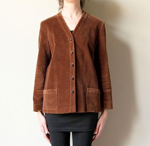 60s Fall Jacket, cocoa chocolate chestnut brown corduroy collarless blazer coat, minimalist Mod style, preppy equestrian vibe
