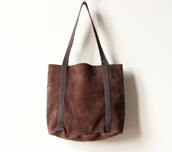 Rustic Leather Tote Bag, minimalist 80s 90s chocolate chestnut brown simple office purse, preppy school book satchel