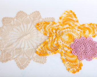 Large Crocheted Doilies, Set of Three