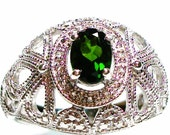"""Chrome diopside filagree accent sterling silver ring s9, gifts for her, fine jewelry, birthday,  """"Lively Lace"""""""