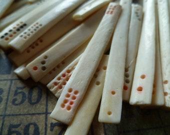 5 Vintage Bone Mahjong Sticks