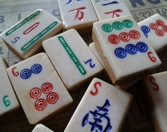 5 Vintage Bone Mahjong Tiles
