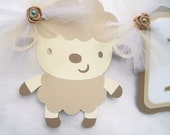 Gender neutral baby shower banner, lamb baby shower, white, ivory, tan,