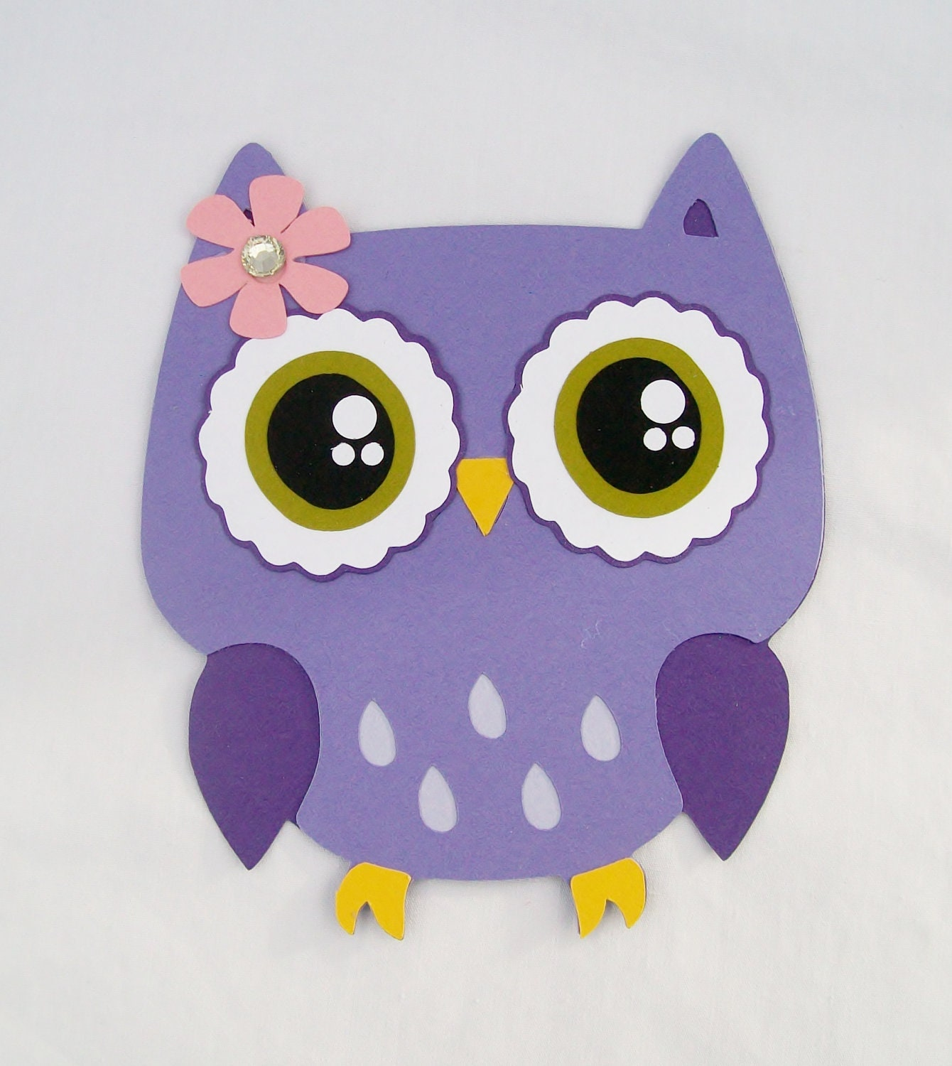 Owl die cut lavender purple mauve by NancysBannerBoutique on Etsy