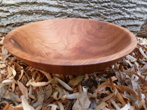 Hand Turned Cherry Wood Bowl Salad Bowl Dough Bowl Fruit Bowl Red Figured Cherry Bowl with Textured Rim Hand Turned Wood Bowl Gift