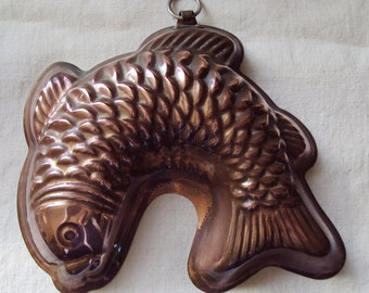 Large Vintage German Fish Shaped Copper Cake Tin Mold Mould Jelly Jello Christian Wagner Esslingen West Germany