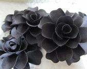 6 Handmade Black Paper Scrapbook Roses