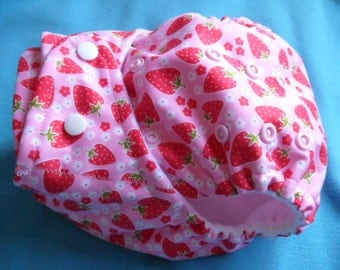 SassyCloth one size pocket diaper with blossom strawberries PUL print. Ready to ship.