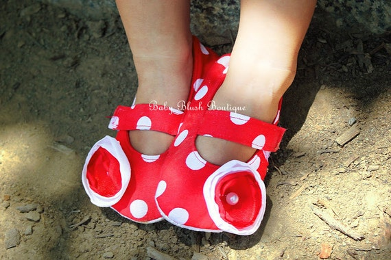 Red with White Dots Maryjane Baby Shoes