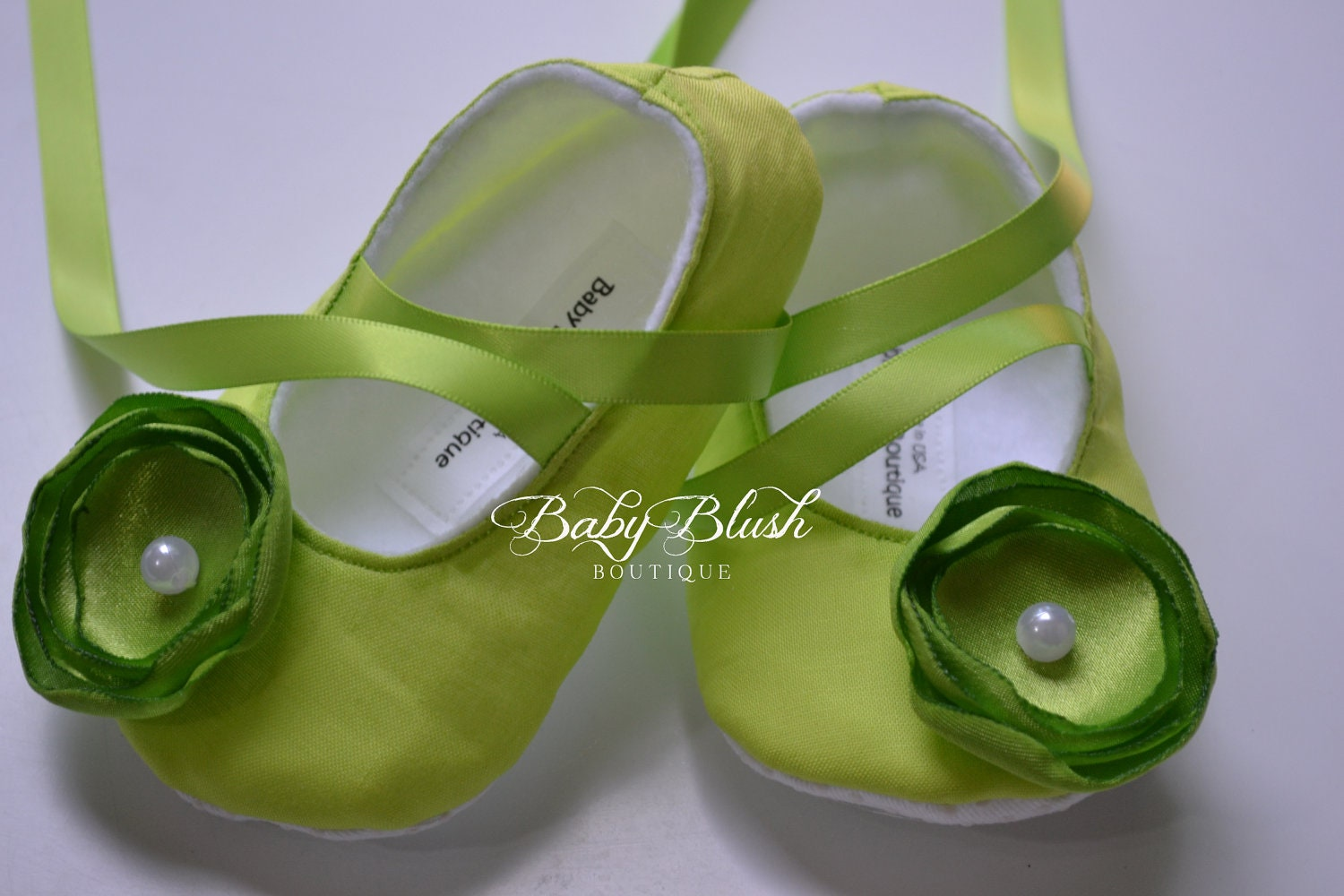 Lime Green Baby Shoes Soft Ballerina Slippers Baby Booties