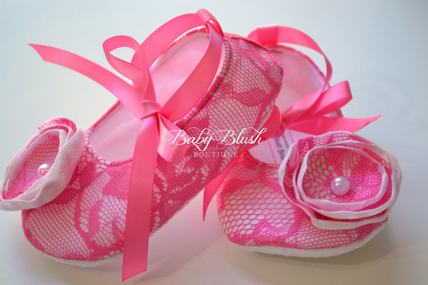 Hot Pink Lace On White Vintage Baby Shoes By Babyblushboutique