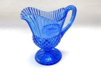 Colbalt Blue Glass Pitcher Syrup Creamer Colonial Early American Avon Fostoria Bicentennial