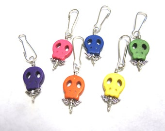 Day of the Dead Keychain Charms Sugar Skull Party Favors 6 Necklace Pendants Zipper Pulls Keyring