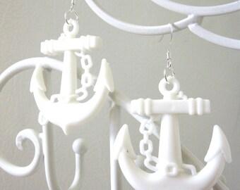 Anchor Earrings Nautical Rockabilly Pin Up Earrings White