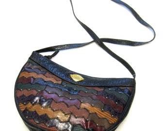 Vintage Purse 1980's Via Moda Patchwork Handbag